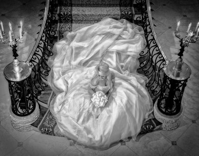 Lavish Bridal Portrait On Stairs For Platinum Wedding