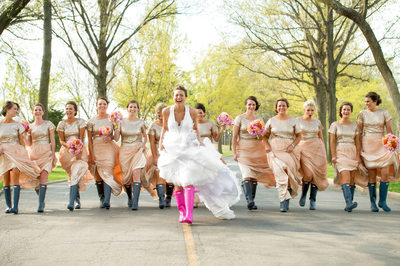 Springtime Pink Hunter Boots For Southern Hills Bride