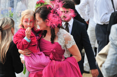 Wedding In Rome, Italy As Bride Carries Flowergirl