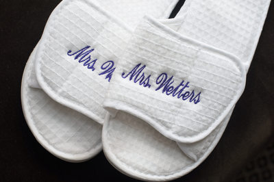 Wedding Slippers Monogrammed With Bride's New Name
