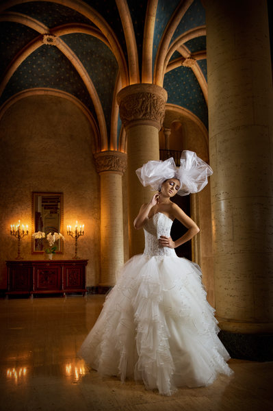 Fashionable Cuban Bride Inside Biltmore Hotel Lobby