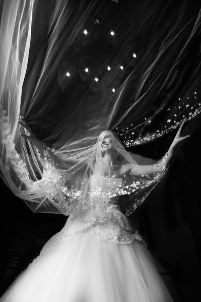 Flying Veil Creates Dramatic Bridal Portrait