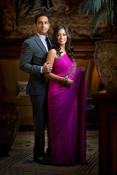 Indian Wedding Engagement Portrait In Formal Setting