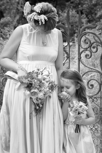Simple Kiss By Flower Girl Touches Los Poblanos Bride