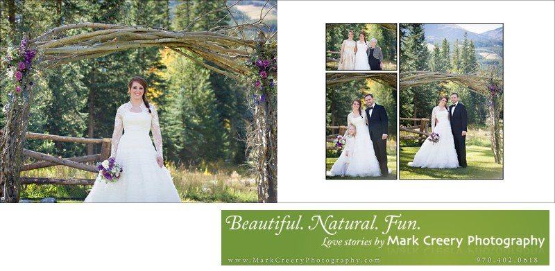 Bride & Groom under arch at Breckenridge Nordic Center