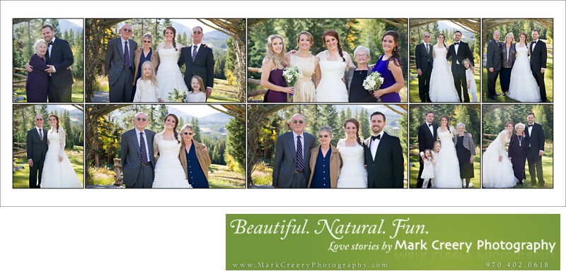 Family portraits at Breckenridge Nordic Center wedding