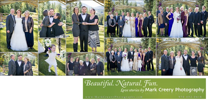 Family photos at Breckenridge Nordic Center wedding