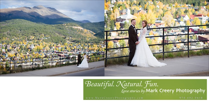 Bride & Groom at Breckenridge scenic lookout