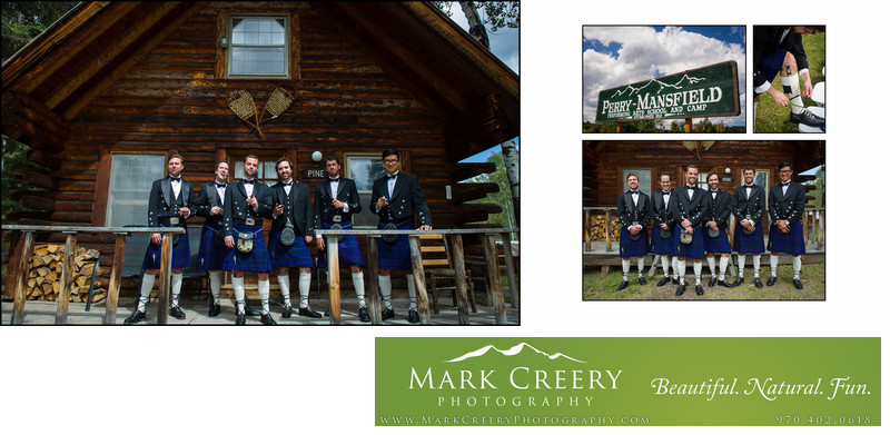 Groomsmen in kilts at Perry Mansfield wedding