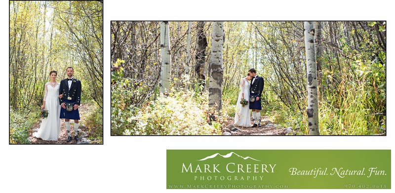 Bride & Groom in woods in Steamboat Springs wedding