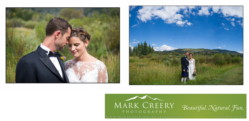 Couple with mountains at Steamboat Springs wedding
