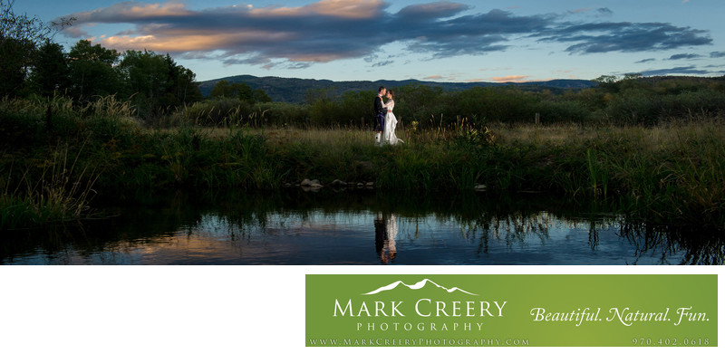 Couple at sunset at Steamboat Springs wedding