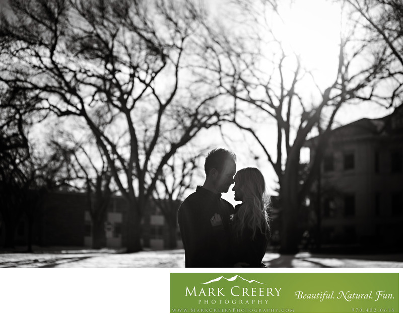 Couple hugging at CU Boulder engagement session