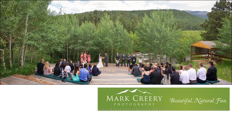 Wedding ceremony panorama with aspens at Wild Basin Lodge