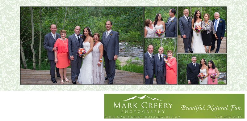 Family portraits by creek at Wild Basin Lodge wedding