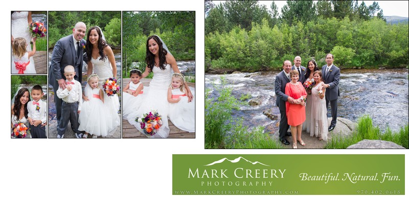 Flower girls with couple & family at Wild Basin Lodge