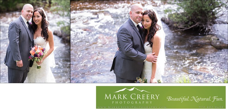 Bride & Groom portraits by river at Wild Basin Lodge