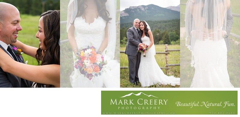 Bride & Groom portraits at meadow at Wild Basin Lodge