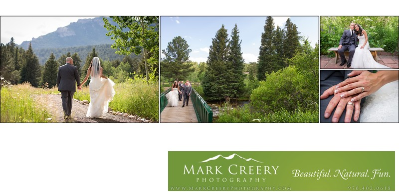 Bride & Groom crossing the creek at Wild Basin Lodge