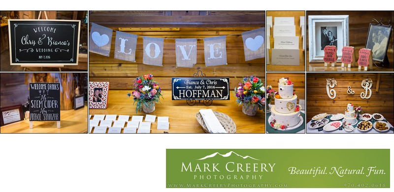 Reception details at Wild Basin Lodge wedding