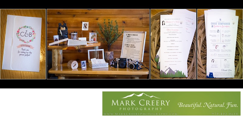 Wedding details at Wild Basin Lodge