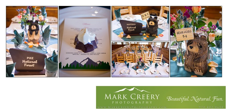 Wedding reception table details and bears Wild Basin Lodge