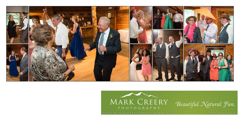Fun dancing & photobooth pics at Wild Basin Lodge wedding