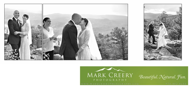 Happy couple kissing in Red Feather Lakes wedding