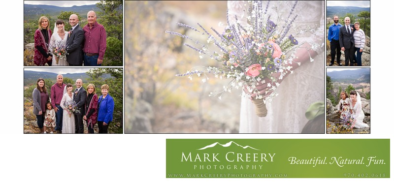 Family portraits at Red Feather Lakes wedding