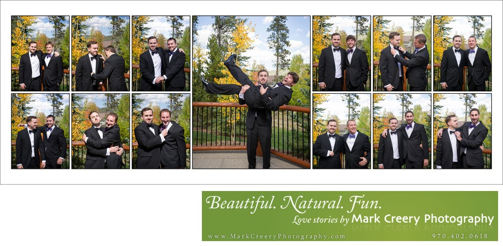 Fun groomsmen pics at Breckenridge Nordic Center wedding