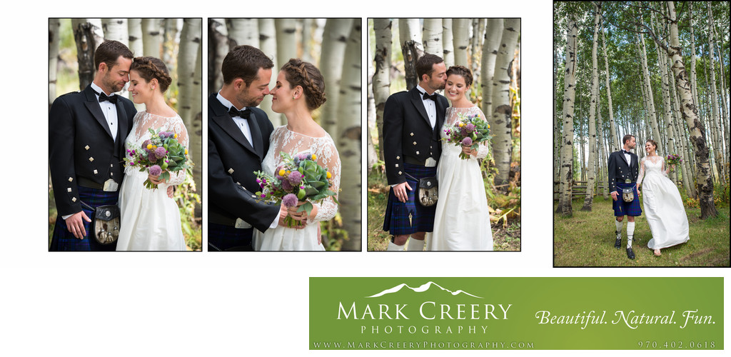 Couple kiss and walk through aspens at Perry Mansfield wedding