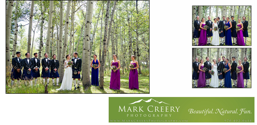 Bridal party portraits in aspens at Perry Mansfield wedding