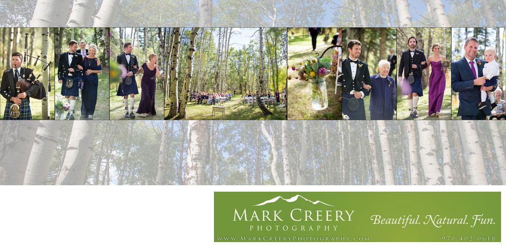 Ceremony in aspen grove at Perry Mansfield wedding