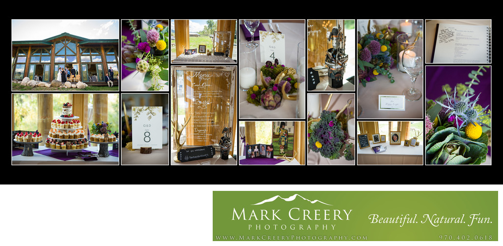 Reception details at Steamboat Springs wedding