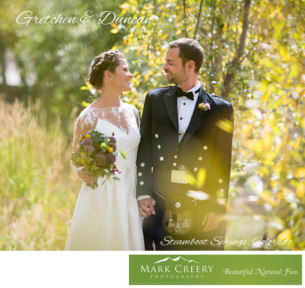 Bride & Groom at Fall wedding in Steamboat Springs