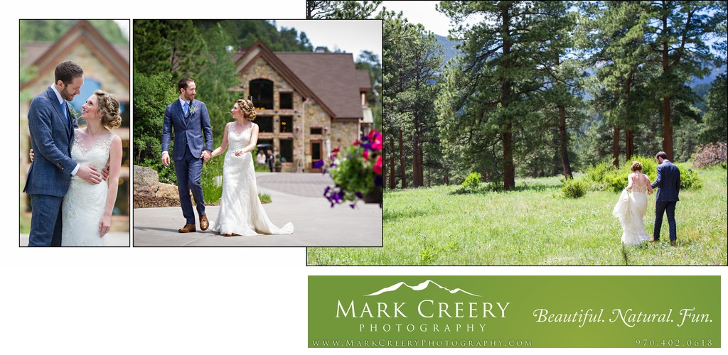 Bride and groom walking at Della Terra Mountain Chateau