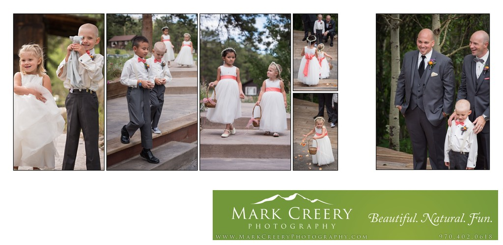 Cute flower girls and page boys at Wild Basin Lodge