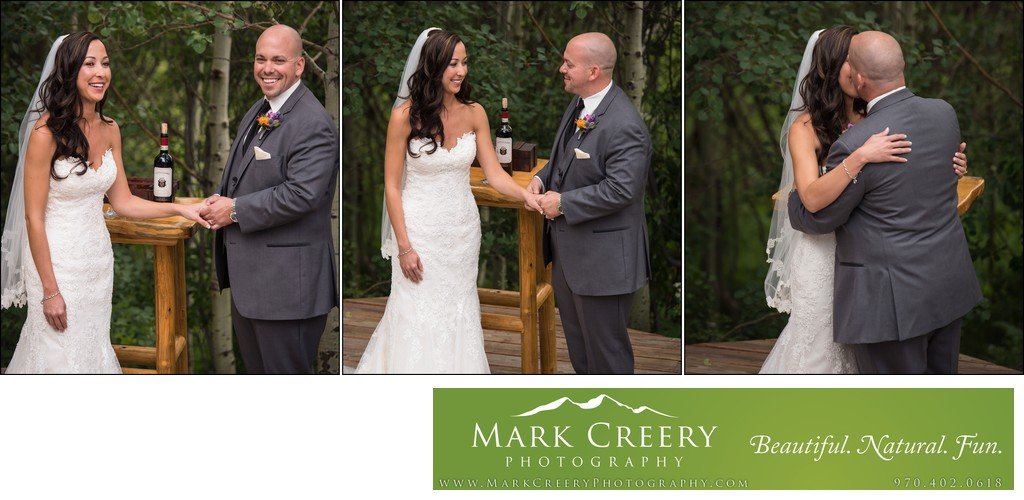 First Kiss at Wild Basin Lodge wedding ceremony