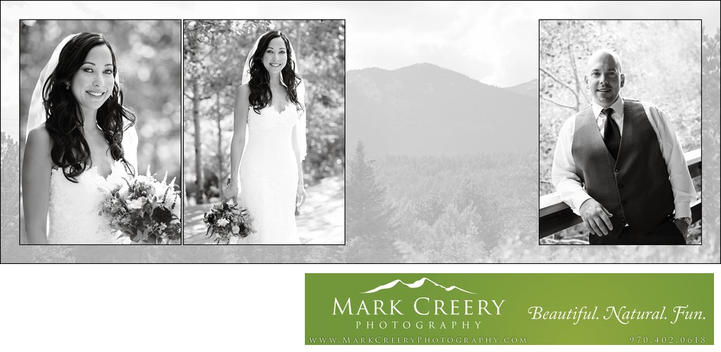 Bride & Groom in black & white Wild Basin Lodge