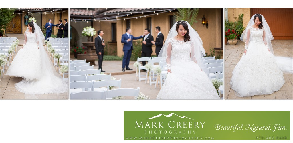 Bride walking in wedding dress Villa Parker