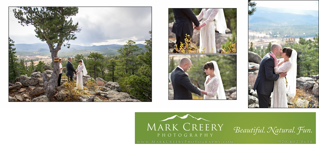 First Kiss at wedding ceremony in Red Feather Lakes