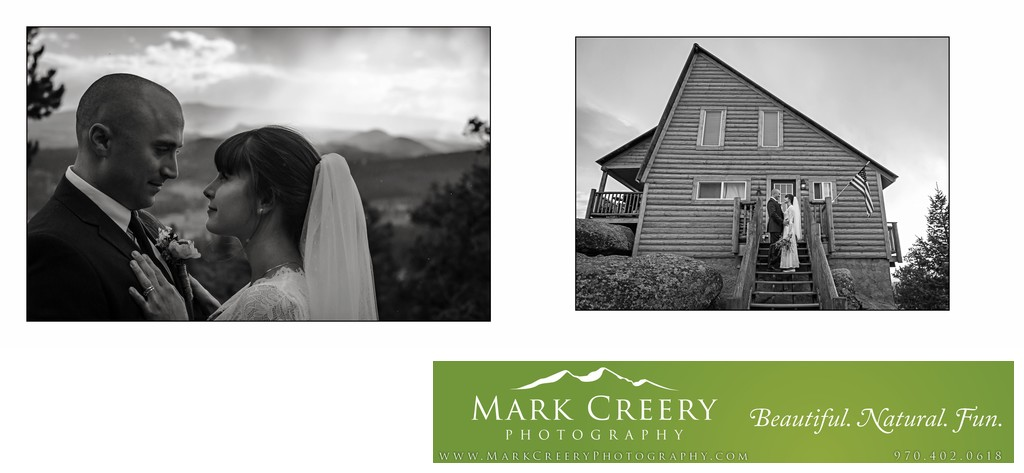 Black & White bride & groom photo at Red Feather Lakes