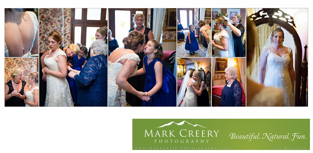Bride getting dressed at Lionsgate Event Center wedding