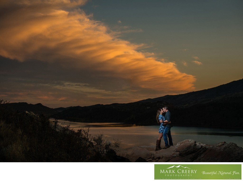 Sunset engagement photo in the Colorado foothills