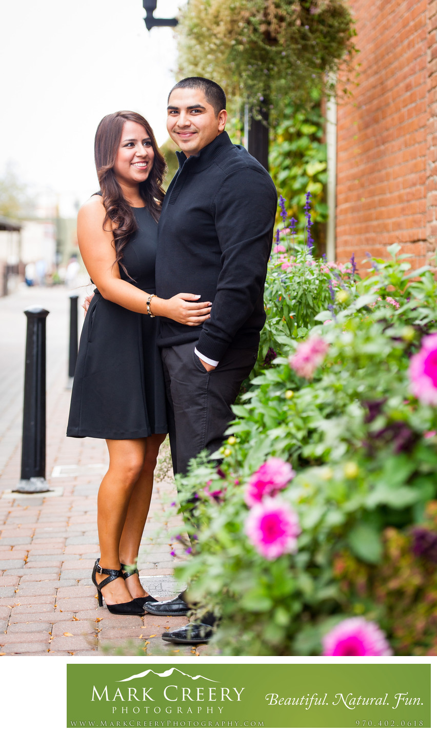 Engagement portraits in Old Town Fort Collins