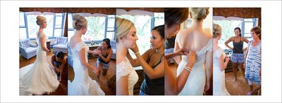 Bride getting ready for backyard wedding in Fort Collins