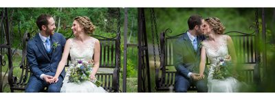 Bride & Groom sitting on swing kissing Della Terra