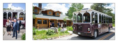 Guests arriving in Estes Park Trolleys to Wild Basin Lodge