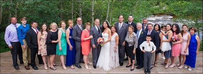 Large family portrait at Wild Basin Lodge wedding