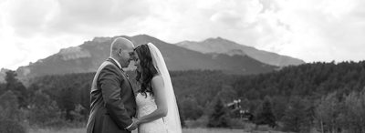 Bridal portrait with Mt. Meeker & Copeland at Wild Basin Lodge